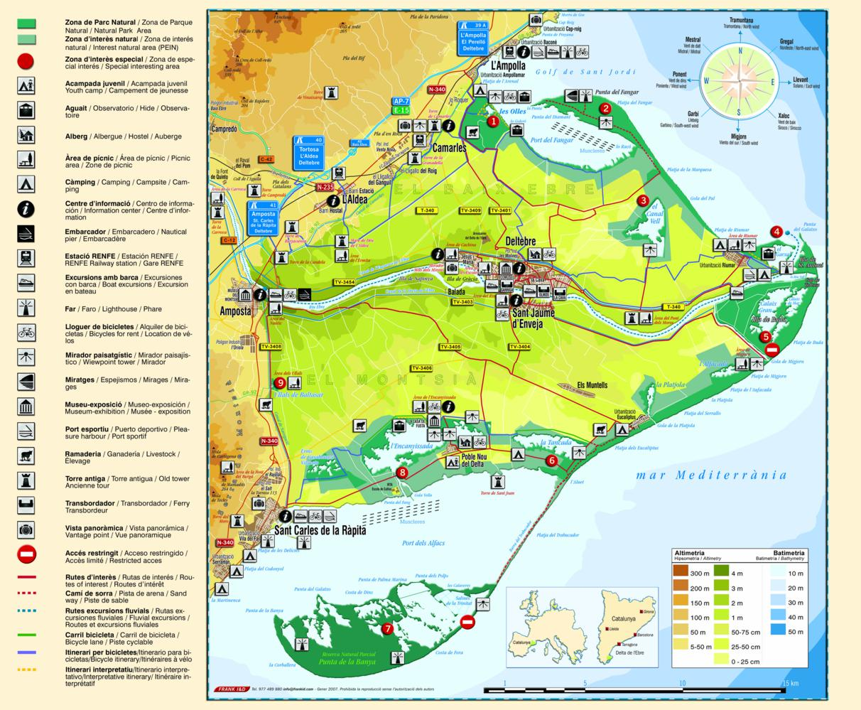 mapa turístic del Delta de l'Ebre